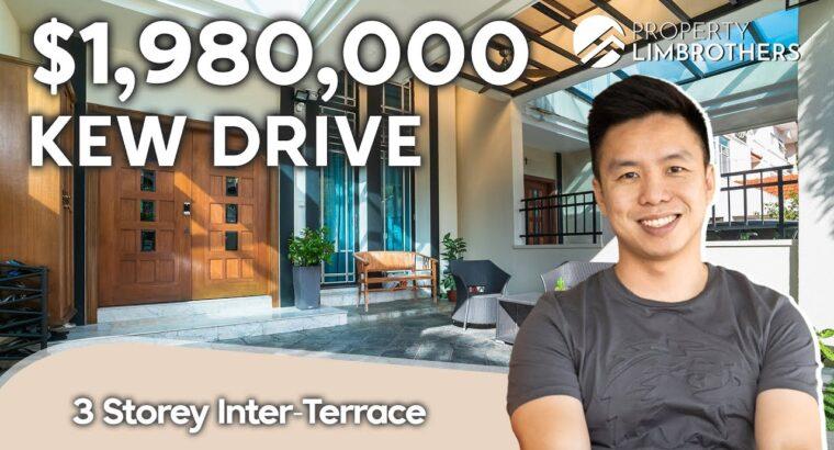 Kew Drive Singapore Landed Property: Three Storey Inter-Terrace House Tour 5 Bedrooms (Beneath $2 Million)
