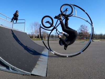 Curler Coaster Bike Drops In Ramp For The First Time Ever!