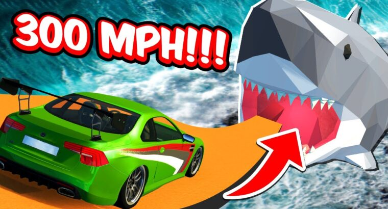 300MPH CAR Leaping Into GIANT SHARK! Excessive Pace Crashes