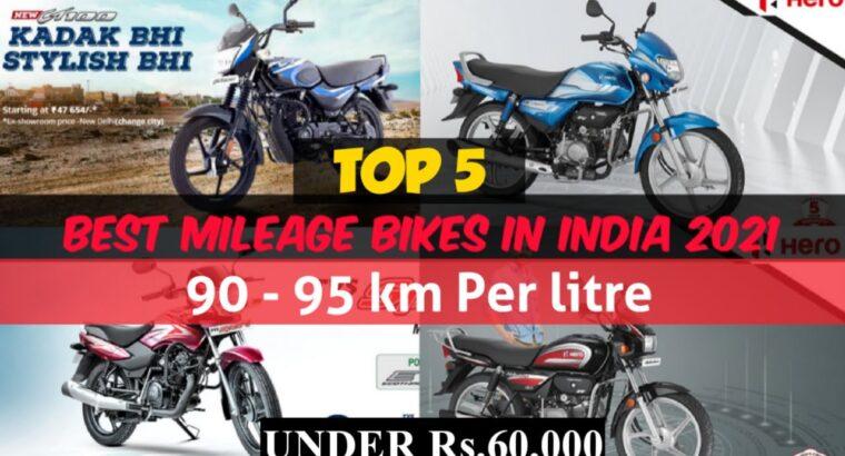 Prime 5 Mileage Bikes in India | Greatest Mileage Bikes in India in 2021 🔥100cc Greatest Mileage Bikes | Value