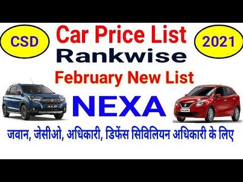 NEXA CSD Automobile Worth Record February 2021 Rankwise Eligibility Particulars ॥ नेक्सा कार सीएसडी कैंटीन रेट