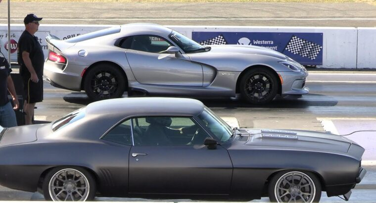 Previous vs New College-muscle automobiles drag racing Dodge Demon, Hellcat, Cuda, Chevy Nova, Dodge Charger,