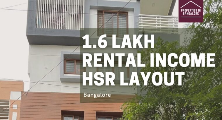 ₹ 1.6 Lakh RENTAL INCOME PROPERTY for SALE in HSR Structure Bangalore (HSR 4)